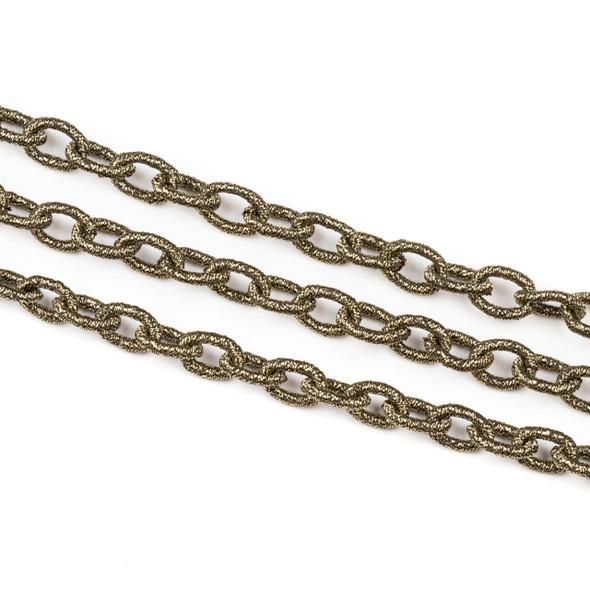 Fabric Chain - Bronze, 8x12mm Irregular Oval Links, Precut 1 Foot Length