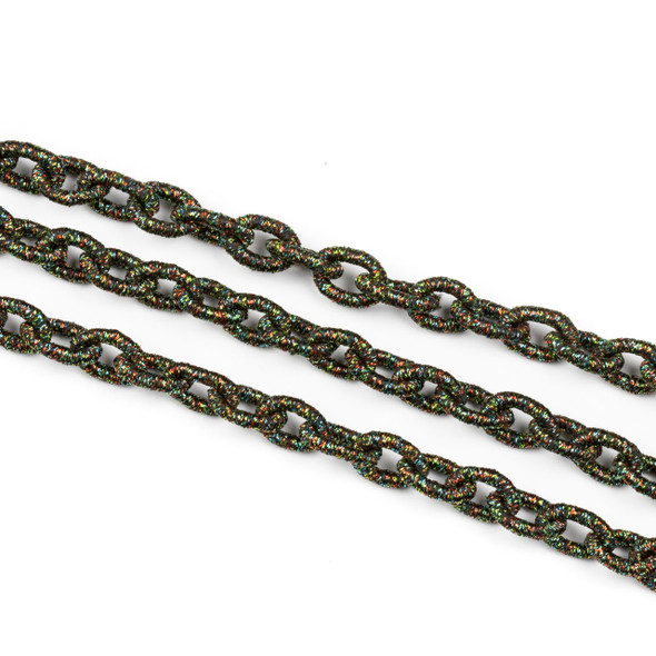 Fabric Chain - Green Rainbow, 8x12mm Irregular Oval Links, Precut 1 Foot Length