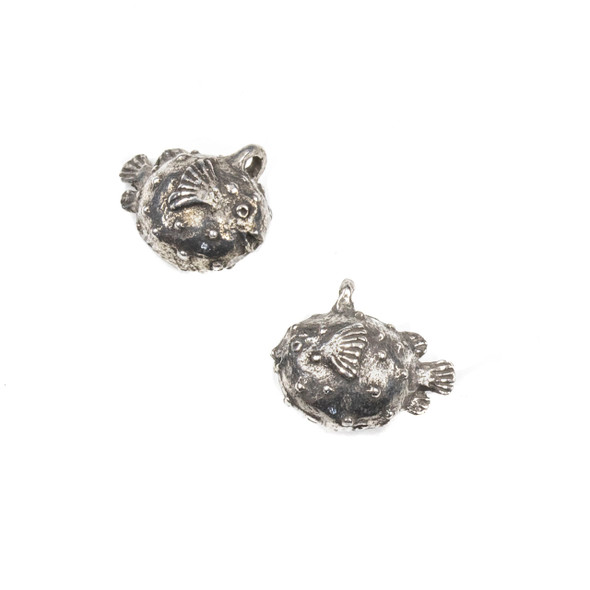 Green Girl Studios Pewter 12x14mm Baby Puffer Fish Dangle - 1 per bag