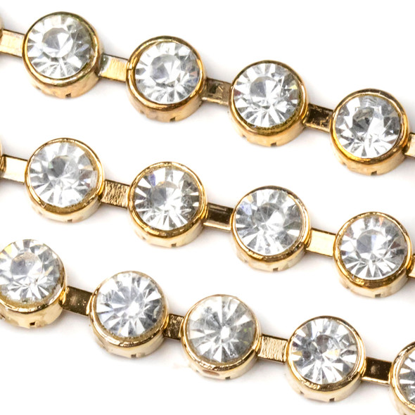 Gold Base Metal 7mm Round Cup Chain with 3mm Spaces and Clear Crystals - 1 foot