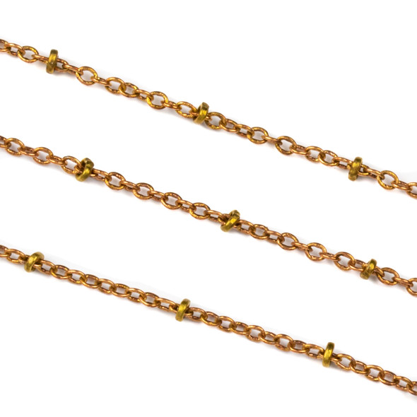 Copper Colored Brass Chain with 2mm Links and 2.5mm Rings - 10 meter spool