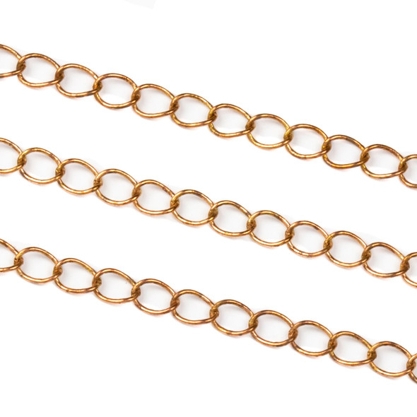 Copper Colored Brass Chain with 4x5mm Twisted Oval Links - 1 foot