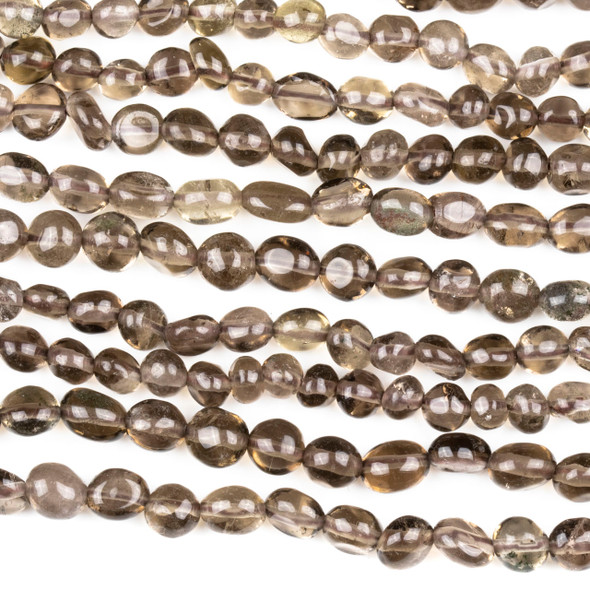 Smoky Quartz 7mm Nugget Beads - 15 inch strand