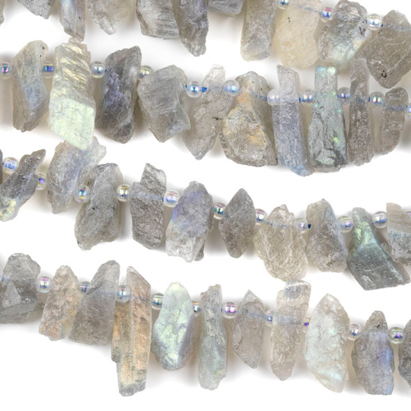Labradorite 7x15mm Top Drilled Rough Nugget Beads - 15 inch strand