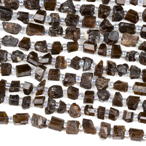 Black Tourmaline 5x7mm Rough Nugget Beads - 15 inch strand