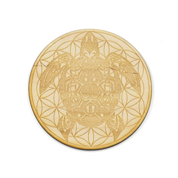 Sea Turtle Flower of Life Crystal Grid - 4 inch, Birch Wood