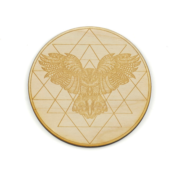 Owl Sri Yantra Crystal Grid - 4 inch, Birch Wood