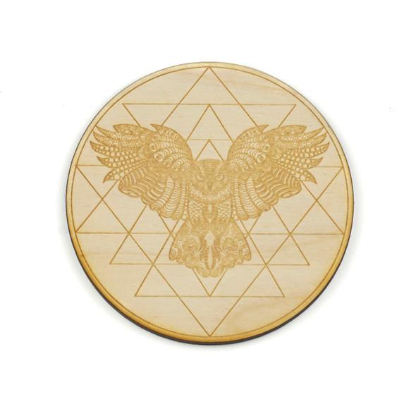 Owl Sri Yantra Crystal Grid - 4 inch, Birch Wood