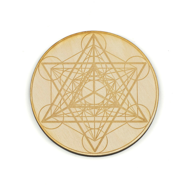 Merkaba Metatron's Cube Crystal Grid - 4 inch, Birch Wood