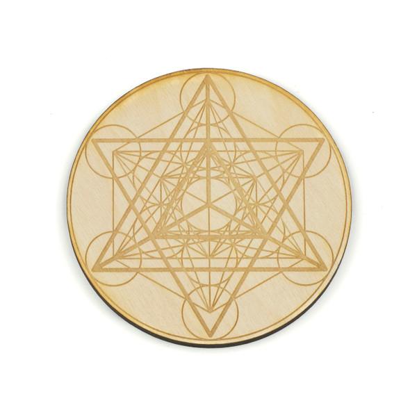 Merkaba Metatron's Cube Crystal Grid - 4 inch, Birch Wood