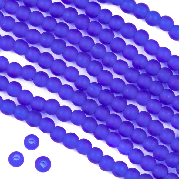 Large Hole Matte Glass, Sea Glass Style 6mm Cobalt Blue Round Beads - 8 inch strand