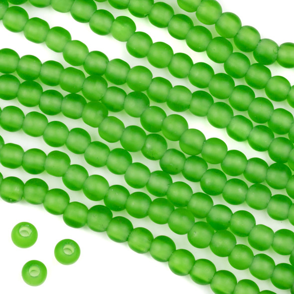 Large Hole Matte Glass, Sea Glass Style 6mm Light Emerald Green Round Beads - 8 inch strand