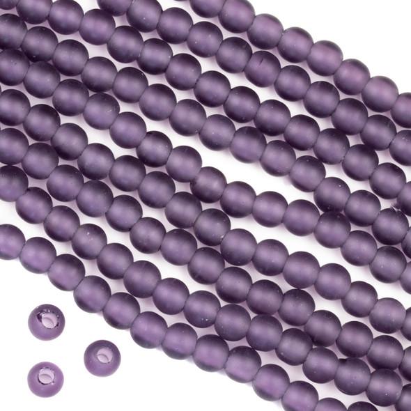Large Hole Matte Glass, Sea Glass Style 6mm Lilac Purple Round Beads - 8 inch strand