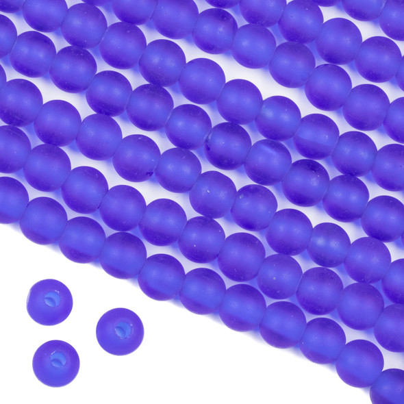 Large Hole Matte Glass, Sea Glass Style 8mm Cobalt Blue Round Beads - 8 inch strand