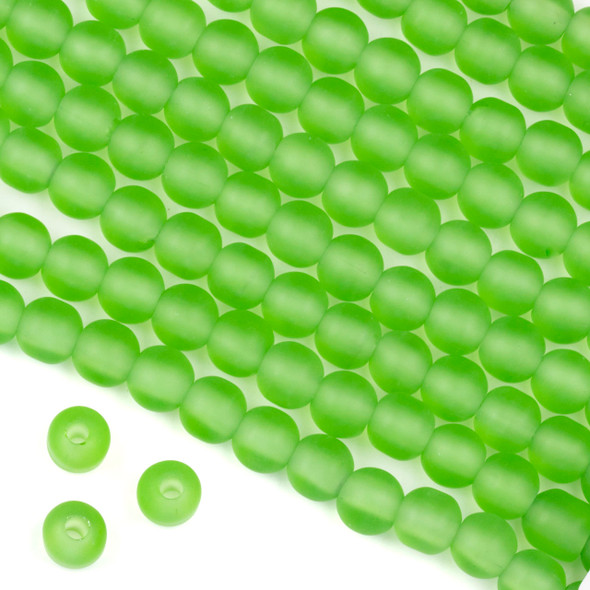 Large Hole Matte Glass, Sea Glass Style 8mm Peridot Green Round Beads - 8 inch strand