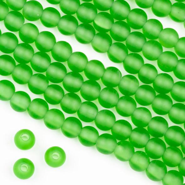 Large Hole Matte Glass, Sea Glass Style 8mm Light Emerald Green Round Beads - 8 inch strand