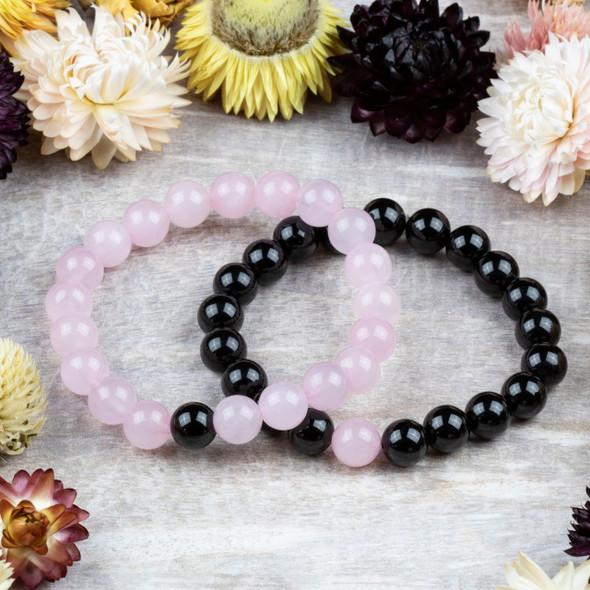 Rose Quartz & Black Tourmaline Distance Bracelets Kit - bkit-021