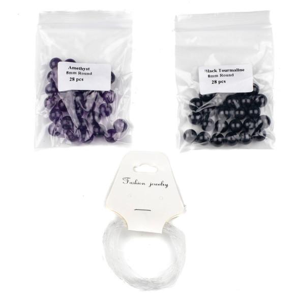 Amethyst & Black Tourmaline Distance Bracelets Kit - bkit-022