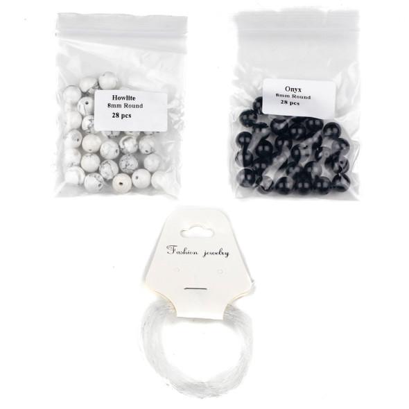 Howlite & Onyx Distance Bracelets Kit - bkit-023