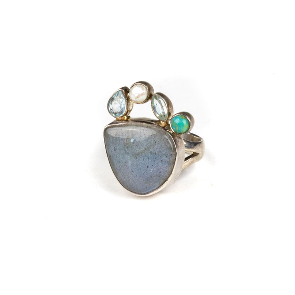 Labradorite, Pearl, Turquoise and Blue Topaz Sterling Silver Adjustable Ring - #5154