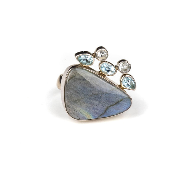Labradorite and Blue Topaz Sterling Silver Adjustable Ring - #4511