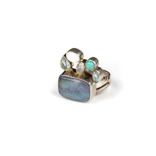 Labradorite, Pearl, Turquoise, and Blue Topaz Sterling Silver Adjustable Ring - #5151