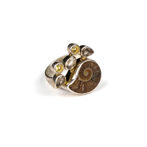 Ammonite, Smoky Quartz, and Citrine Sterling Silver Adjustable Ring - #5099