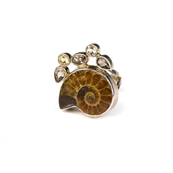 Ammonite, Smoky Quartz, and Citrine Sterling Silver Adjustable Ring - #4507