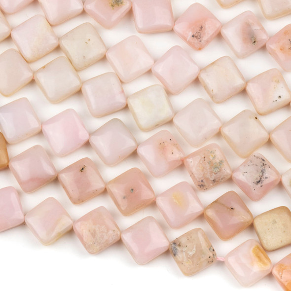 Pink Opal 12mm Diagonally Drilled Square Beads - 16 inch strand