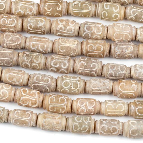 Tan Jade 10x17mm Carved Barrel Beads - 15 inch strand
