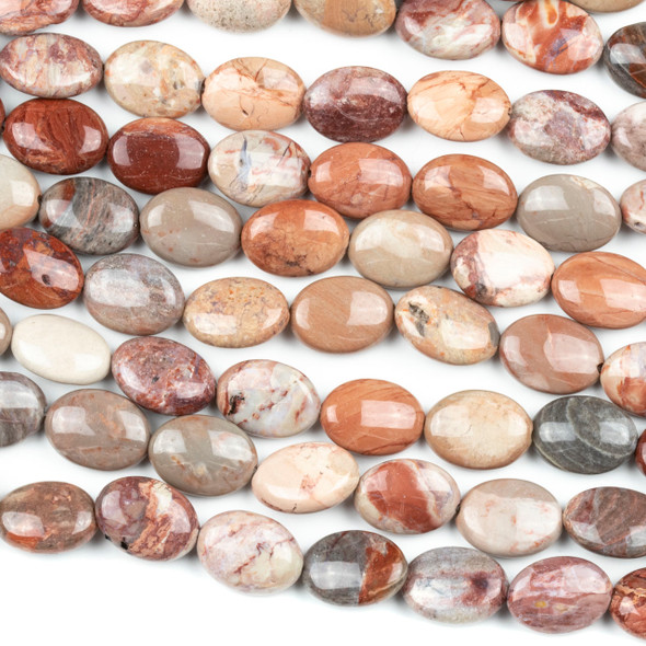 Mexican Red Porcelain Jasper 10x14mm Oval Beads - 7 inch strand