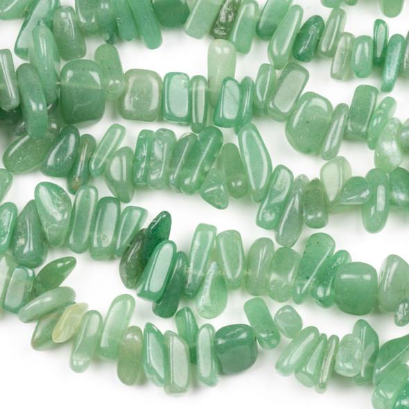 Green Aventurine 5x10-8x12mm Top Drilled Nugget Beads - 15 inch strand