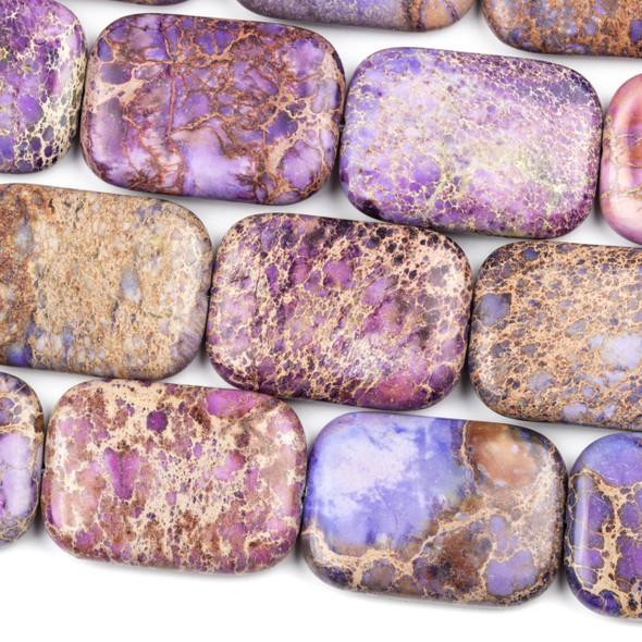 Purple Impression Jasper 25x35mm Rectangle Beads - 16 inch strand