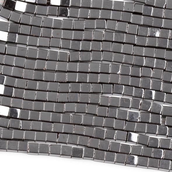 Hematite 4mm Cube Beads - 15 inch strand