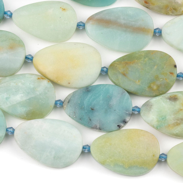 Amazonite 22x32mm Faceted Irregular Oval Beads - 15 inch strand