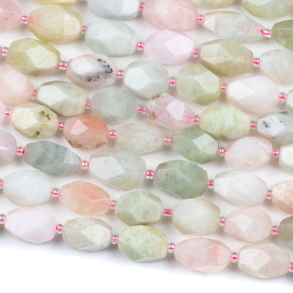 Morganite 12x15mm Faceted Nugget Beads - 15 inch strand
