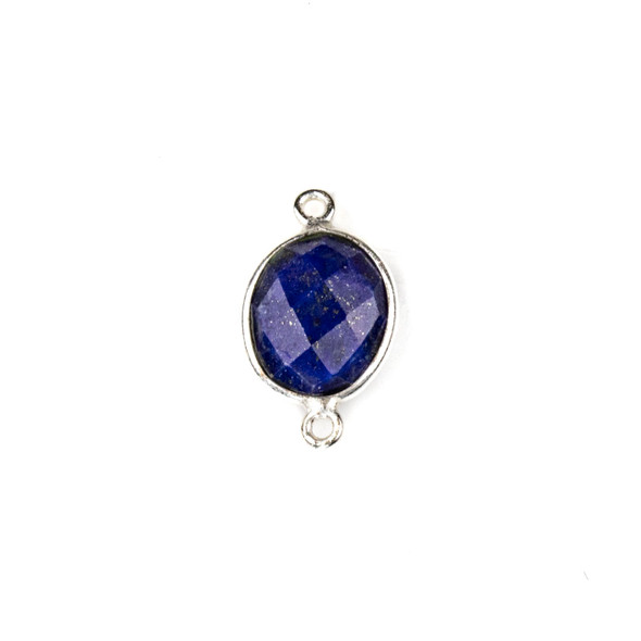 Lapis approximately 12x20mm Oval Link with a Silver Plated Brass Bezel - 1 per bag