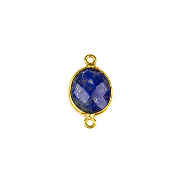 Lapis approximately 12x20mm Oval Link with a Gold Plated Brass Bezel - 1 per bag