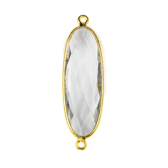 Quartz approximately 12x38mm Faceted Oval Link with a Gold Plated Brass Bezel - 1 per bag