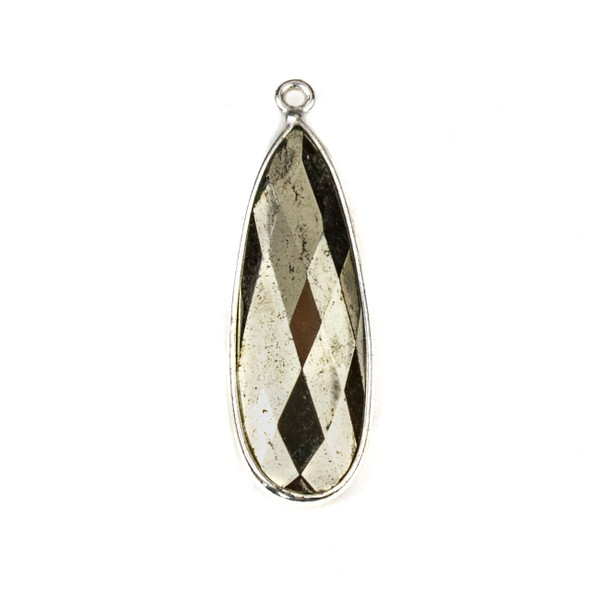 Pyrite approximately 11x35mm Long Teardrop Drop with a Silver Plated Brass Bezel - 1 per bag