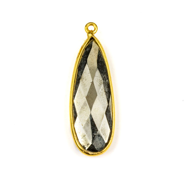 Pyrite approximately 11x35mm Long Teardrop Drop with a Gold Plated Brass Bezel - 1 per bag