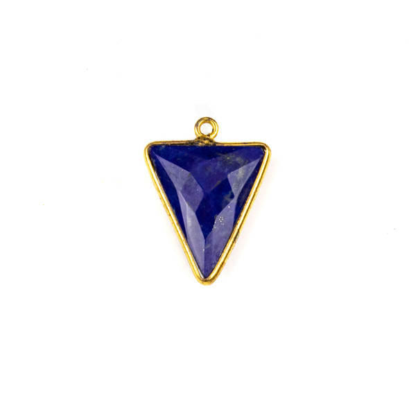 Lapis approximately 16x22mm Triangle Drop with a Gold Plated Brass Bezel - 1 per bag