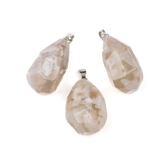 Cherry Blossom Agate 23-40mm Faceted Nugget Pendant with a Silver Plated Bail - 1 per bag