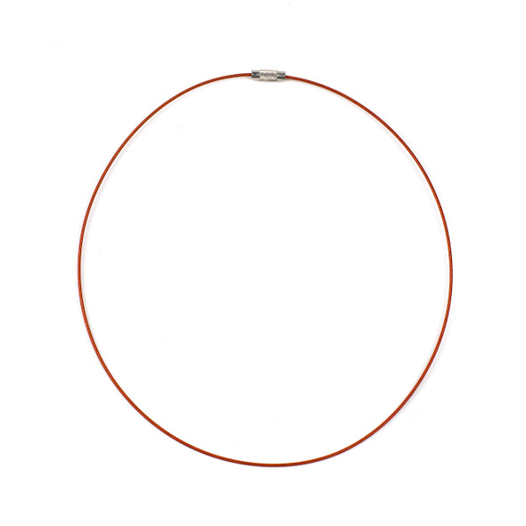 Steel Wire Necklace - 1 necklace, Orange, 1mm, Twist Clasp, 17 inch