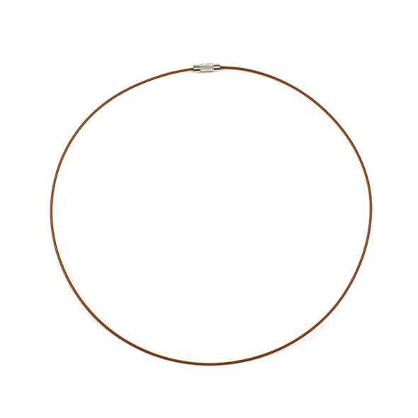 Steel Wire Necklace - 1 necklace, Brown, 1mm, Twist Clasp, 17 inch