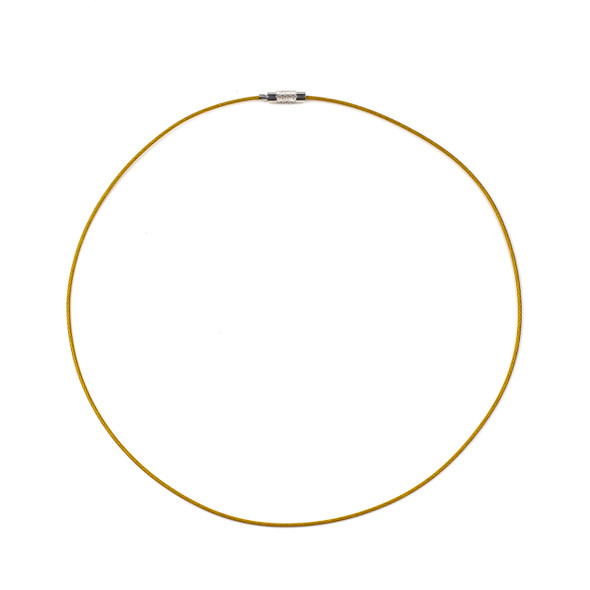 Steel Wire Necklace - 1 necklace, Yellow, 1mm, Twist Clasp, 17 inch