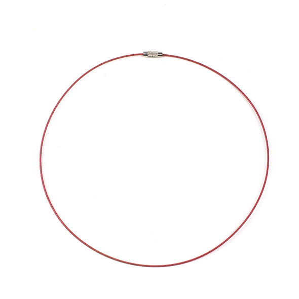Steel Wire Necklace - 1 necklace, Pink, 1mm, Twist Clasp, 17 inch