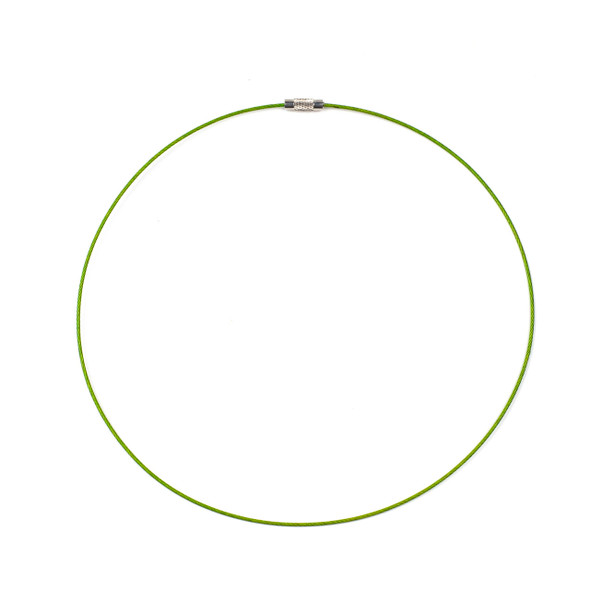 Steel Wire Necklace - 1 necklace, Green, 1mm, Twist Clasp, 17 inch