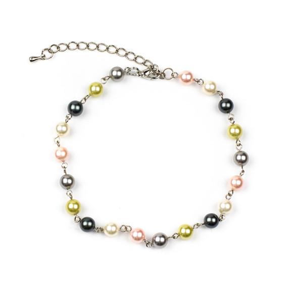 Spring Mix Shell Pearl Adjustable Bracelet - 6mm, 9-11 inch