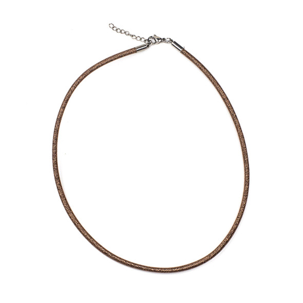 "Metallic Satin Cord Necklace - Antique Copper, 3mm, 16-18"" Stainless Steel Adjustable Clasp"